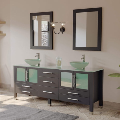 Cambridge Plumbing 71 Inch Espresso Wood and Glass Vessel Sink Double Vanity Set 8119BXL - SaunaTown.com
