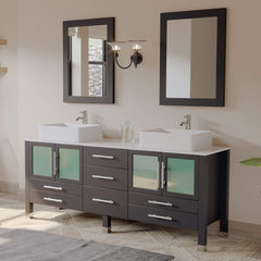 Cambridge Plumbing 71 Inch Espresso Wood and Porcelain Vessel Sink Double Vanity Set 8119XL - SaunaTown.com