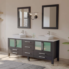 Cambridge Plumbing 71 Inch Espresso Wood and Porcelain Vessel Sink Double Vanity Set 8119XLF-CP - SaunaTown.com