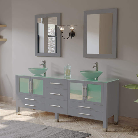 Cambridge Plumbing 71 Inch Gray Wood and Glass Vessel Sink Double Vanity Set – 8119BXLG - SaunaTown.com