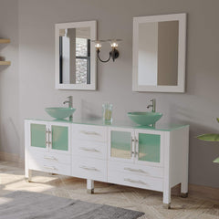 Cambridge Plumbing 71 Inch White Wood and Glass Vessel Sink Double Vanity Set 8119BXLW - SaunaTown.com