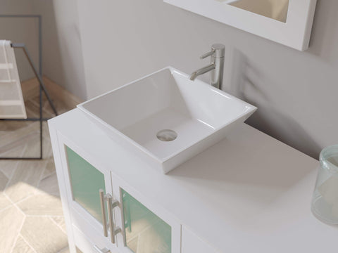 Cambridge Plumbing 71 Inch White Wood and Porcelain Vessel Sink Double Vanity Set 8119XLWF-CP - SaunaTown.com