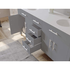 Cambridge Plumbing 72 inch Gray Wood and Porcelain Double Basin Sink Vanity Set 8162G