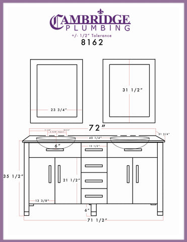 Cambridge Plumbing 72 inch White Wood and Porcelain Double Basin Sink Vanity Set 8162W - SaunaTown.com