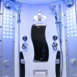 "Mesa Durable 63"" x 63"" x 85"" Blue Glass Steam Shower 608P - SaunaTown.com"