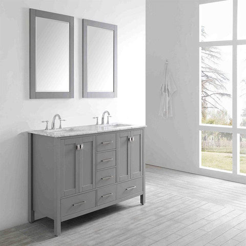 Eviva Aberdeen 60″ Transitional Grey Bathroom Vanity with White Carrera Countertop & Double Square Sinks - SaunaTown.com