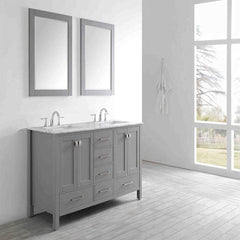 Eviva Aberdeen 60″ Transitional Grey Bathroom Vanity with White Carrera Countertop & Double Square Sinks