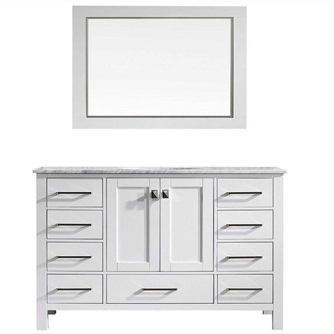 Eviva Aberdeen 60″ Transitional White Single Bathroom Vanity with White Carrera Countertop - SaunaTown.com