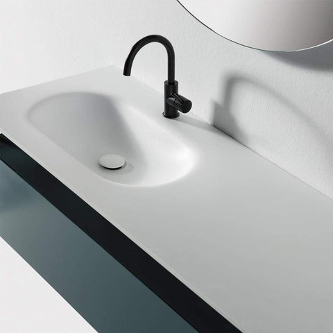 Eviva Modena 32 in. Wall Mounted Teal Bathroom Vanity with White Integrated Solid Surface Countertop - SaunaTown.com