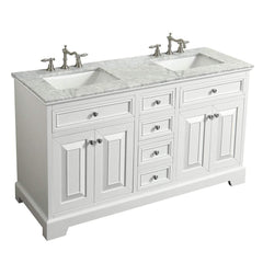 Eviva Monroe 60 in. White Double Bathroom Vanity with White Carrara Marble Top & White Undermount Porcelain Sinks