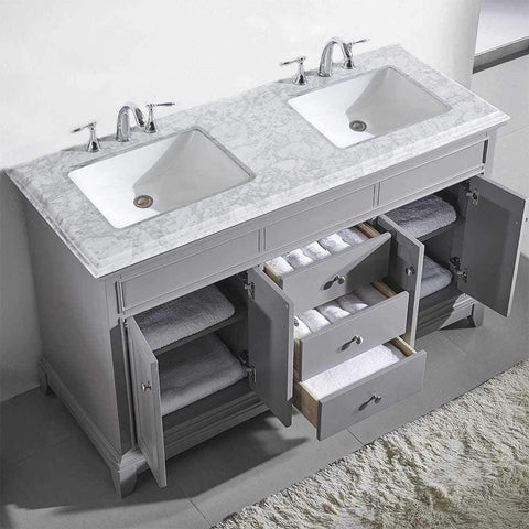 Eviva Elite Princeton 60″ Grey Solid Wood Bathroom Vanity Set with Double OG White Carrera Marble Top - SaunaTown.com