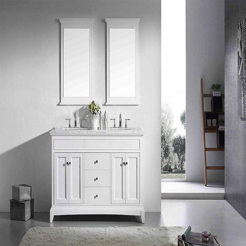 Eviva Elite Princeton 60″ White Solid Wood Bathroom Vanity Set with Double OG White Carrera Marble Top - SaunaTown.com