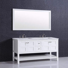 Eviva Glamor 60 in. White Bathroom vanity with Marble Counter-top and Undermount Porcelian Sink - SaunaTown.com