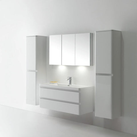 Eviva Glazzy® 48″ Wall Mount Modern Bathroom Vanity with Single Sink (High Glossy White) - SaunaTown.com