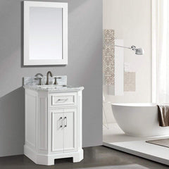 Eviva Glory 24″ White Bathroom Vanity with Carrara Marble Counter-top and Porcelain Sink - SaunaTown.com