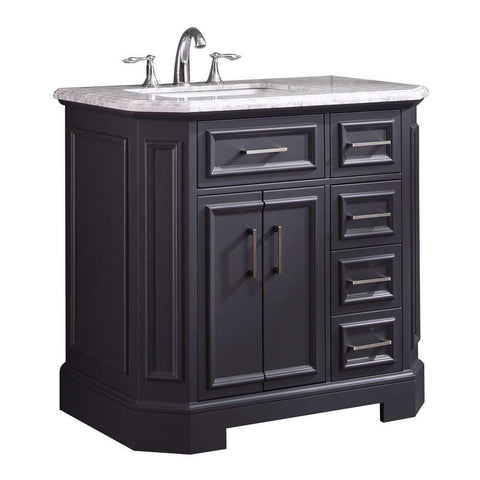 Eviva Glory 36″ Dark Grey Bathroom Vanity with Carrara Marble Counter-top and Porcelain Sink - SaunaTown.com