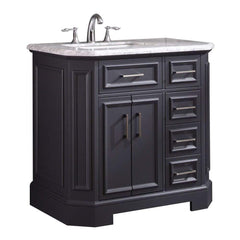 Eviva Glory 36″ Dark Grey Bathroom Vanity with Carrara Marble Counter-top and Porcelain Sink