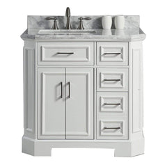 Eviva Glory 36″ White Bathroom Vanity with Carrara Marble Counter-top and Porcelain Sink