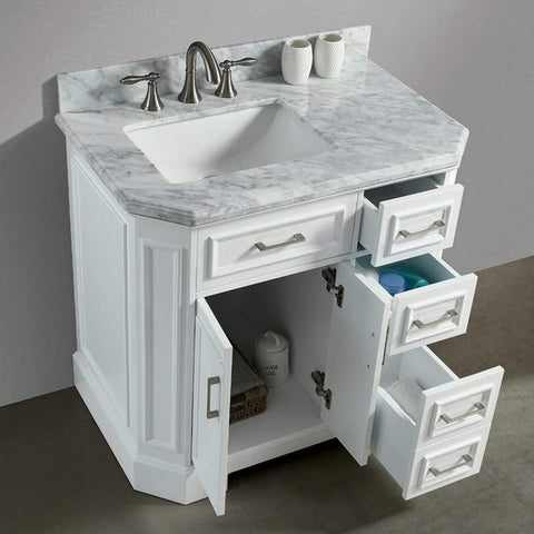 Eviva Glory 36″ White Bathroom Vanity with Carrara Marble Counter-top and Porcelain Sink - SaunaTown.com
