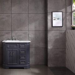 Eviva Glory 42″ Dark Grey Bathroom Vanity with Carrara Marble Counter-top and Porcelain Sink - SaunaTown.com