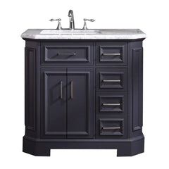 Eviva Glory 42″ Dark Grey Bathroom Vanity with Carrara Marble Counter-top and Porcelain Sink