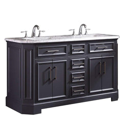 Eviva Glory 60″ Dark Grey Bathroom Vanity with Carrara Marble Counter-top and Porcelain Sink