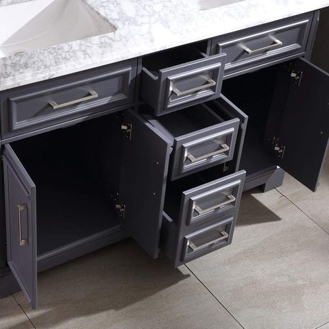 Eviva Glory 60″ Dark Grey Bathroom Vanity with Carrara Marble Counter-top and Porcelain Sink - SaunaTown.com