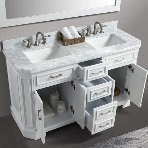 Eviva Glory 60″ White Bathroom Vanity with Carrara Marble Counter-top and Porcelain Sink - SaunaTown.com