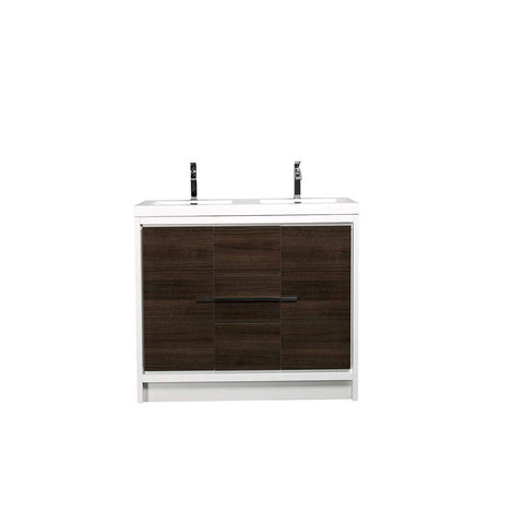 Eviva Grace 60 in. Gray Oak and White Bathroom Vanity with Double White Integrated Acrylic Countertop - SaunaTown.com