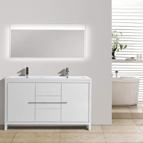 Eviva Grace 60 in. White Bathroom Vanity with Double White Integrated Acrylic Countertop - SaunaTown.com