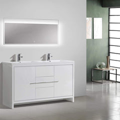 Eviva Grace 60 in. White Bathroom Vanity with Double White Integrated Acrylic Countertop
