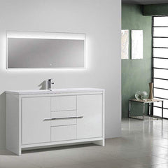 Eviva Grace 60 in. White Bathroom Vanity with Single White Integrated Acrylic Countertop