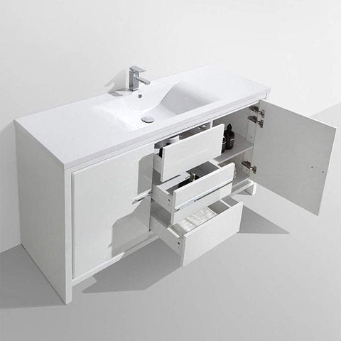 Eviva Grace 60 in. White Bathroom Vanity with Single White Integrated Acrylic Countertop - SaunaTown.com