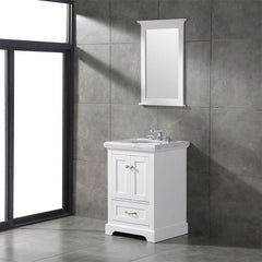 Eviva Houston 24 in. White Bathroom Vanity with White Carrara Marble Countertop