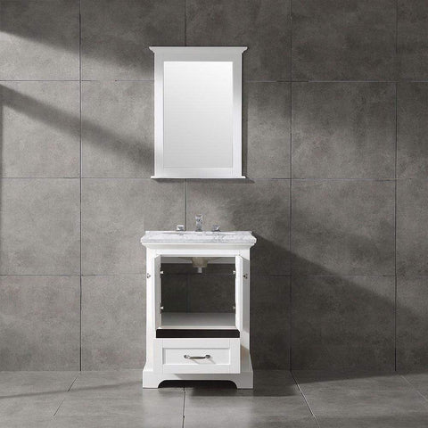 Eviva Houston 24 in. White Bathroom Vanity with White Carrara Marble Countertop - SaunaTown.com