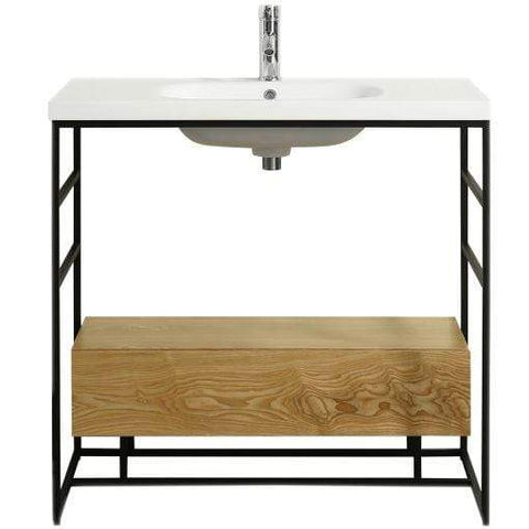 Eviva Lodge 36″ Teak Bathroom Vanity with White Integrated Acrylic Sink - SaunaTown.com