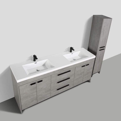 Eviva Lugano 84″ Cement Grey Modern Bathroom Vanity with White Integrated Acrylic Sink - SaunaTown.com