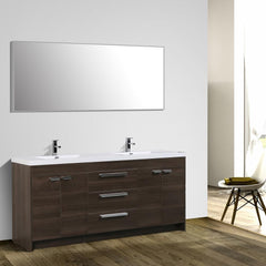 Eviva Lugano 84″ Grey Oak Modern Bathroom Vanity with White Integrated Acrylic Double Sink