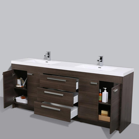 Eviva Lugano 84″ Grey Oak Modern Bathroom Vanity with White Integrated Acrylic Double Sink - SaunaTown.com