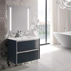 Eviva Luna 24″ Dark Grey Wallmount Bathroom Vanity with Integrated Porcelain Sink - SaunaTown.com