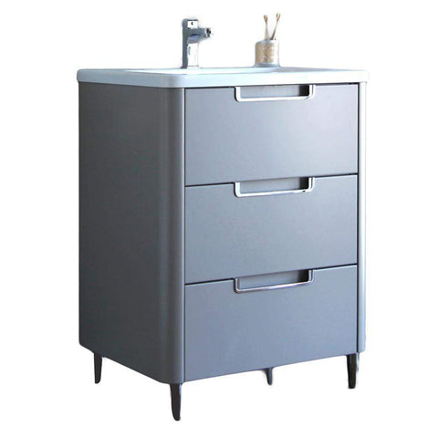 Eviva Marbella 26 in. Bathroom Vanity in Fossil Gray and White Integrated Acrylic Countertop - SaunaTown.com