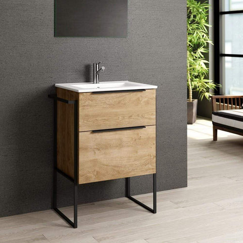 Eviva Marina 24″ Medium Oak Bathroom Vanity with White Integrated Porcelain Sink - SaunaTown.com