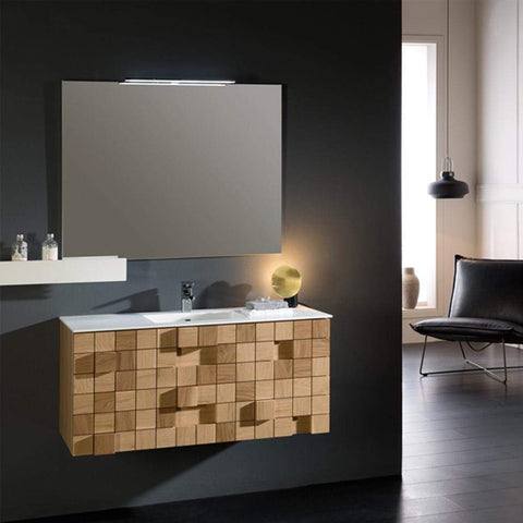 Eviva Mosaic 36 in. Wall Mounted Oak Bathroom Vanity with White Integrated Solid Surface Countertop - SaunaTown.com