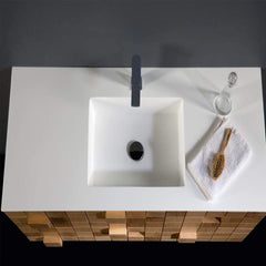 Eviva Mosaic 36 in. Wall Mounted Oak Bathroom Vanity with White Integrated Solid Surface Countertop