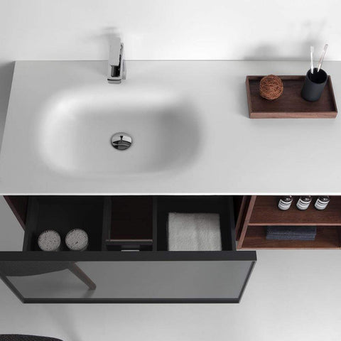Eviva Napa 48″ Gray and Walnut Wall Mount Bathroom Vanity with White Integrated Solid Surface Sink - SaunaTown.com