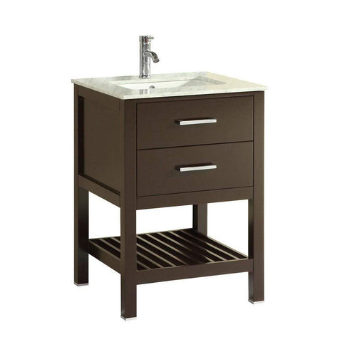 Eviva Natalie F. 24″ Espresso Bathroom Vanity with White Jazz Marble Counter-top & White Undermount Porcelain Sink - SaunaTown.com