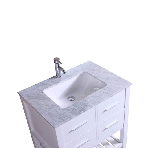 Eviva Natalie F. 24″ White Bathroom Vanity with White Jazz Marble Counter-top & White Undermount Porcelain Sink - SaunaTown.com
