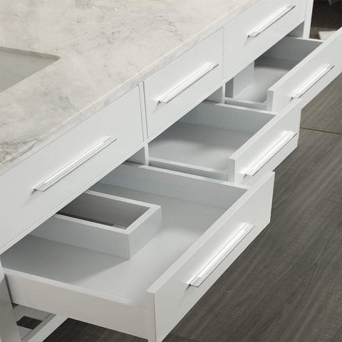 Eviva Natalie F.® 60″ White Bathroom Vanity with White Carrera Marble Counter-top & Double Porcelain Sinks - SaunaTown.com