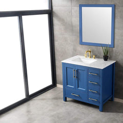 Eviva Navy 36 inch Deep Blue Bathroom Vanity with White Carrera Counter-top and White Undermount Porcelain Sink