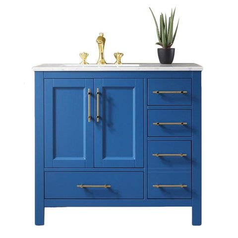 Eviva Navy 36 inch Deep Blue Bathroom Vanity with White Carrera Counter-top and White Undermount Porcelain Sink - SaunaTown.com